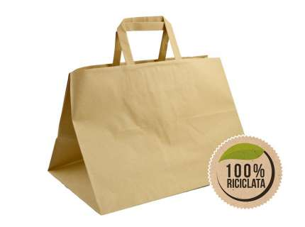 Shopper take away manico piattina avana riciclato personalizzabile
